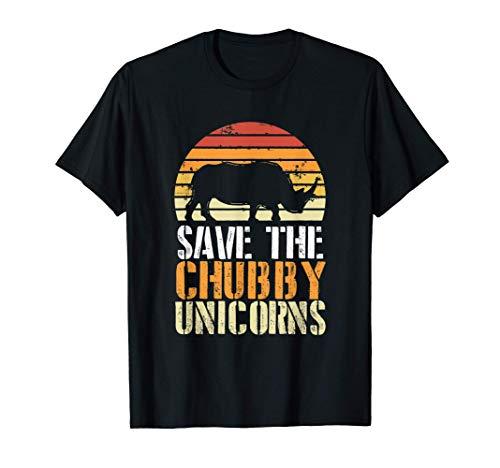 Save The Chubby Unicorns Retro I Vintage I rinoceronte Camiseta