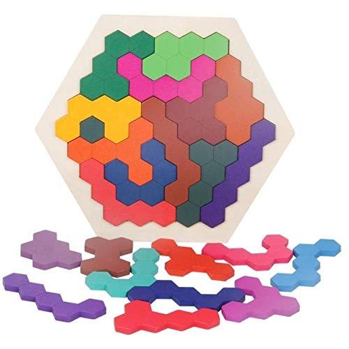 Hanks\' Shop Kinder-Trainingslernspielzeug Paulclub Kinder 3D-Puzzles aus Holz Spielzeug-Kind-Geometrie Tangrams Honeycomb Rätsel IQ Brain Training Lernspielzeug 14 PCS