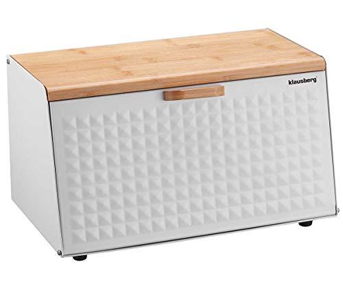 Brotbox Brotkasten Brotkiste Holz Edelstahl Brotkorb KLAUSBERG KB-7468 weiß