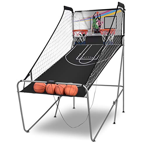 Giantex Foldable Basketball Arcade Game, 8 Game Options, Electronic Double Shot 2 Player w/ 4 Balls and LED Scoring System, Indoor Basketball Game for Kids, Adults