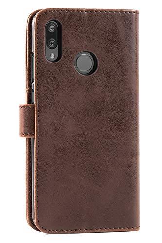 Mulbess Handyhülle für Honor 10 Lite Hülle, Leder Flip Case Schutzhülle für Huawei P Smart 2019 / Honor10 Lite Tasche, Vintage Braun - 4