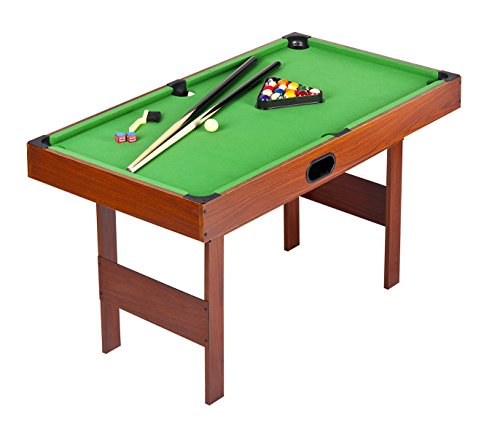 Leomark Tavolo da biliardo in legno, rivestimento verde, professionale triangolo, tavolo per bambini e adulti, facile assemblaggio e alta qualità, dimensioni: 120cm x 62cm x 69cm (LxPxA)