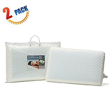 HANKEY 2 Pack Memory Foam Pillow with Cooling Gel, Double Sided Cushion for Neck and Shoulder Pain Relief, Help Insomnia, with Soft & Washable Cover …