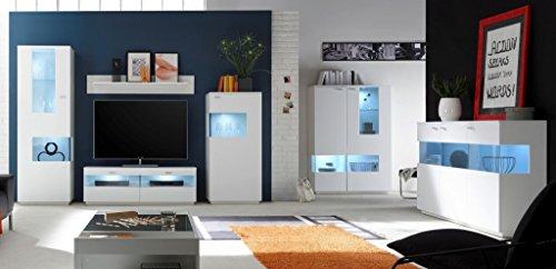 COMO Wohnzimmer Set 5 Wohnwand Anbauwand Wohnkombination Weiß supermatt