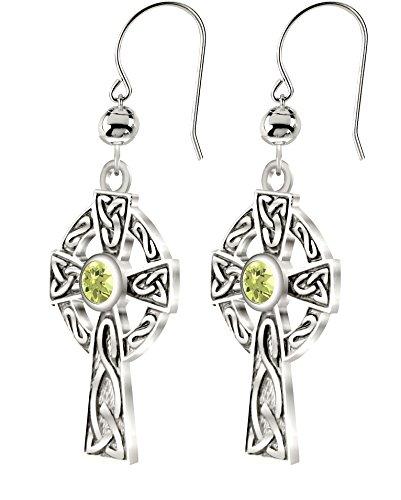 US Jewels New 0.925 Sterling Silver Irish Celtic Knot Cross Earrings with Genuine Peridot August Birthstone
