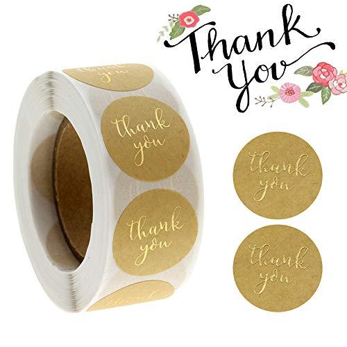 500 piezas Thank You Pegatinas,Gracias Rollo de Pegatinas, Redondas Gracias Pegatinas para regalos, tarjetas, bodas, bricolaje sobre sellado de caramelos y galletas (Color madera)