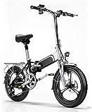RDJM Bici electrica Bicicleta eléctrica, Plegable Suave Cola de la Bicicleta for Adultos, 10AH batería 36V400W / Litio, móvil de Carga del teléfono USB/Delantera y Trasera Luces LED, Ciudad de bicic