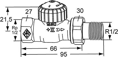 HEIMEIER Thermostat-Ventilunterteil V-exact II, Durchgang, DN 15, vernickelt