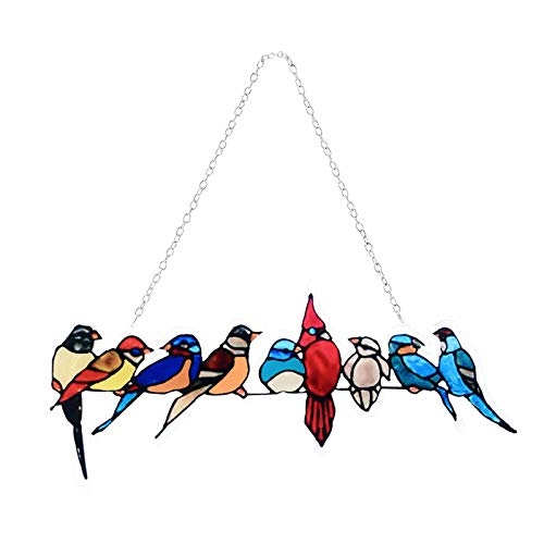 Stained Glass Birds Pendant, Family of Spring Birds Window Hanging Hand Painted Stained Window Panel Wall Hangings