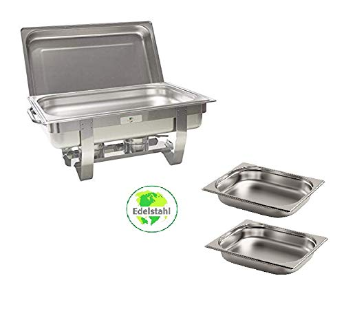 Gastro-Bedarf-Gutheil Chafing Dish Speisenwärmer bestehend aus: 1 Gestell mit Deckelhalterung, 1 Wasserbecken 3 Speisebehälter GN Behälter 2 x 1/2 + GN Behälter 1/1 - Tiefe 65 mm