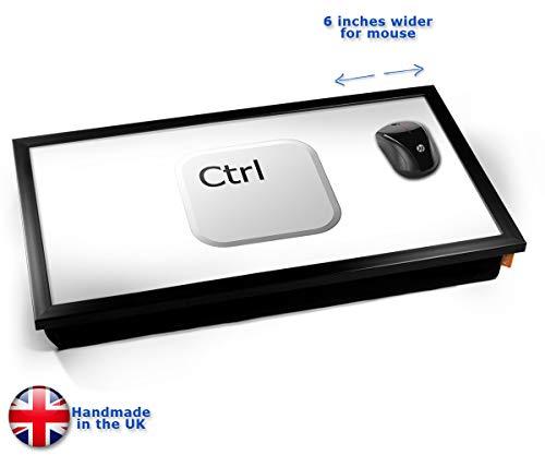 Key Ctrl White Cushioned Bean Bag Laptop Lap Tray Desk - Built-in EMF Shield (Electro Magnetic Field) Kissen Tablett Knietablett Kissentablett - Schwarzer Rahmen