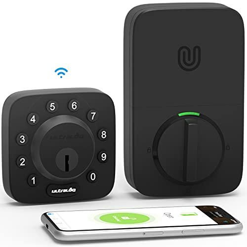 All-New ULTRALOQ U-Bolt WiFi Smart Lock (Black) with Door Sensor, 5-in-1 Keyless Entry Door Lock with Built-in WiFi, Bluetooth and Keypad, No Hub Required, Smart Door Lock Front Door, Deadbolt