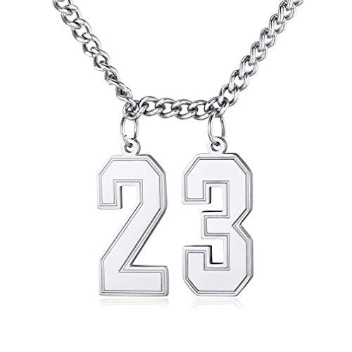 Custom4U Dos Números Seleccionables Collar de Buena Suerte para Hombres y Mujeres Deportes Joyería Dudadera Acero Inoxidable 316L