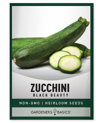 Zucchini Seeds for Planting - Black Beauty Green Heirloom, Non-GMO Vegetable Summer Squash Variety- 3 Grams Seeds Great for Summer Garden by Gardeners Basics