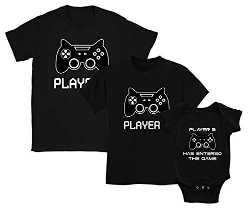 Green Turtle T-Shirts Player 1 Player 2 Player 3 - Regalo para Papá, Hijo Mayor e Hijo Menor