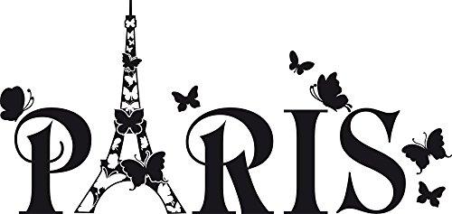 GRAZDesign Wandtattoo Paris Eiffelturm Schmetterling Wand-Deko mit Selbstklebender Folie (63x30cm//070 Schwarz)