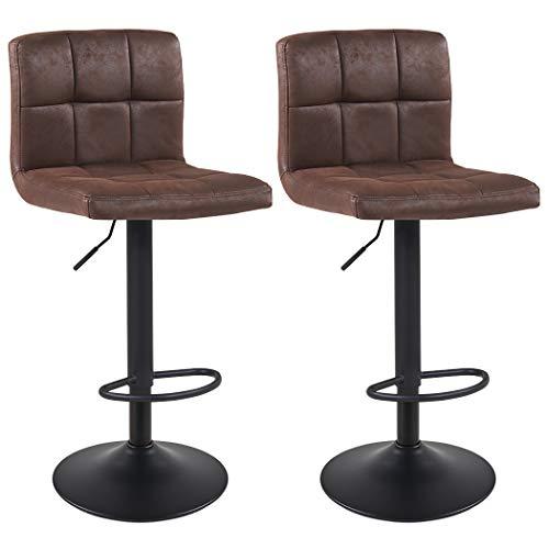 Duhome Barhocker 2X Barstuhl Kunstleder oder Stoff Tresenhocker Bar Sessel gut gepolstert höhenverstellbar mit Lehne eckig 451Y, Farbe:Braun, Material:Lederoptik