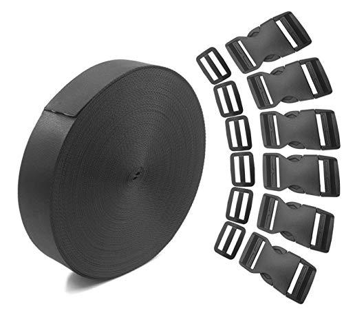 NewZC 6 Yards 1 rotolo di cinturino in nylon e 6 coppie Clip di regolazione antiscivolo 6 pezzi fibbie di rilascio laterali piatte per 1 pollice di larghezza - riparazione della cinghia dei bagagli