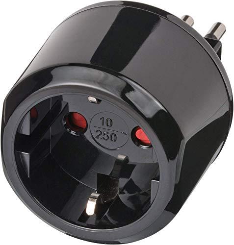 Brennenstuhl Reisestecker / Reiseadapter (Reise-Steckdosenadapter für: Italien Steckdose und Euro Stecker) schwarz