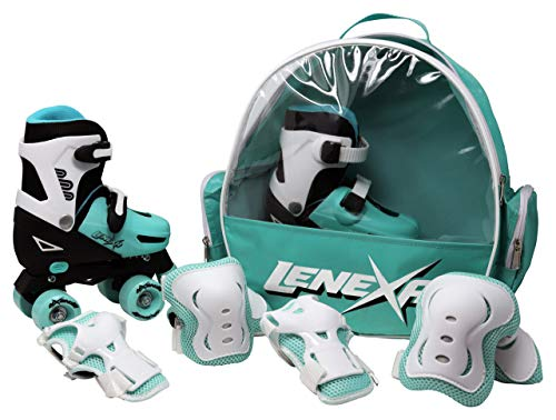Lenexa Go GRO Adjustable Quad Roller Skate Bundle – Kids Rollerskates with Wrist Guards, Knee Pads, Elbow Pads, and Matching Backpack - Rollerskate Gift Set for Girls and Boys (Black & Teal, Medium)