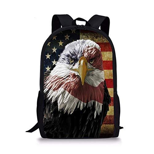 jenny-shop Patriotischer American Eagle Kinderrucksack Schulkinder Büchertasche Leichter Tagesrucksack für Jungen Mädchen 17 Zoll