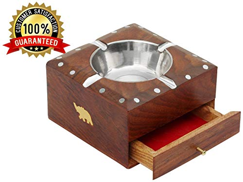 Indian Crafts Idea Wooden Modern Tabletop Ashtray Cigarette Ashtray for Indoor or Outdoor Use Ash Holder for Smokers Desktop Smoking Ash Tray with Cigarette Case for Home Office Decoration