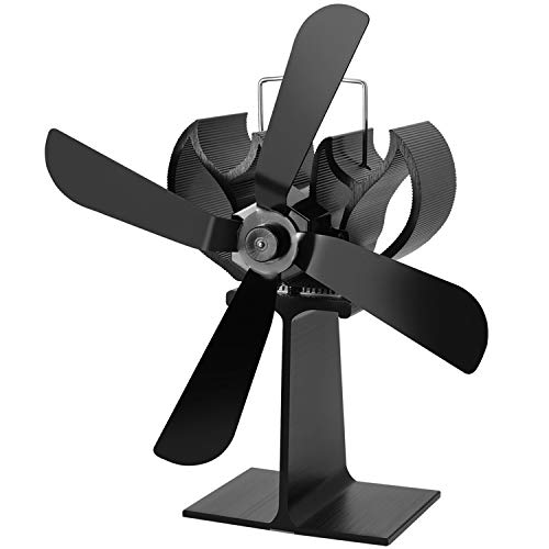 EastMetal Ventilador de Chimenea, Ventilador de Estufa 4 Palas, Mudo Diseño- Diseño Ecológico- Circulación de Aire Caliente Stove Fan, para Estufa de Leña/Chimenea/Gas/Pellets/Madera/Troncos,Negro