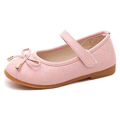 Chic-Chic Chaussures Bébé Chaussons Cuir Nœud à Deux Boucles Printemps Bébé Fille Garçons Enfant Chaussures Rose 26