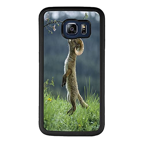 Case Compitable with Samsung Galaxy S6 Edge Goat Design Shockproof Slim Fit Rubber Protective Cover Black Edge Mobile Cellphone