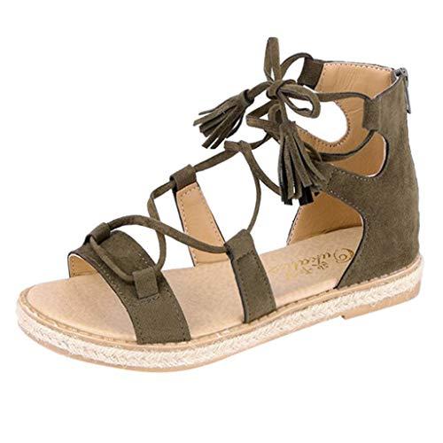 Berimaterry Sandalias de Mujer Sandalias de Punta Descubierta para Mujer Zapatillas Moda Sandalias Gladiator Mujer Fleco Tachonado Hebilla TacóN Ancho Mujer Sandalias Cuña Planas Verano Playa