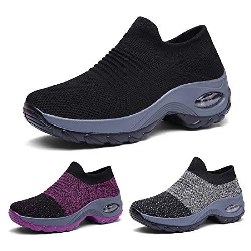 Kinghealth Damen Laufschuhe Sportschuhe mit Luftpolster Turnschuhe Profilsohle Sneakers Leichte Schuhe (Schwarz EU39)