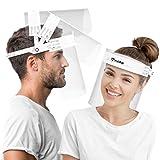 HARD Pantalla Protección Facial 10 x Soporte y 20 x Viseras intercambiables, Face Shield abatible con antivaho, Visera con cierre Cap ajustable - Blanco/Blanco
