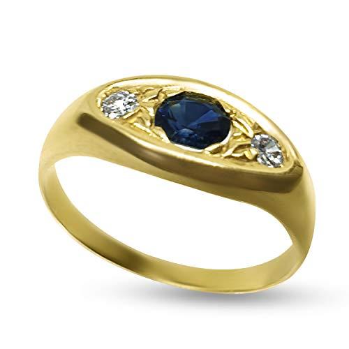 Anillo hombre oro 18 ct 750 con zafiro central y diamantes...