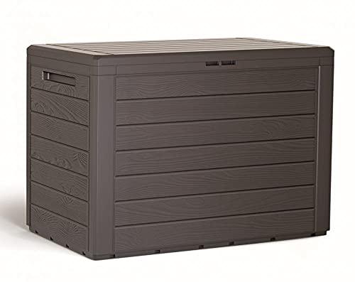 ADGO Woodebox - Cassetta da giardino in polipropilene, 78 x 44 x 55 cm, 190 litri, ideale per tenere in ordine il giardino sul balcone sulla terrazza (Umbra, 78 x 44 x 55 cm)