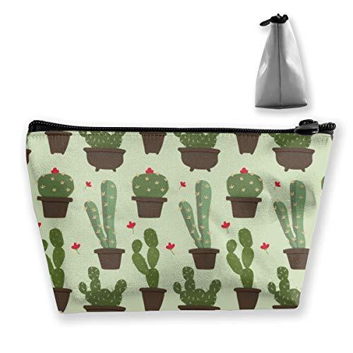 Multi-Functional Print Trapezoidal Storage Bag for Female Flat Cactus