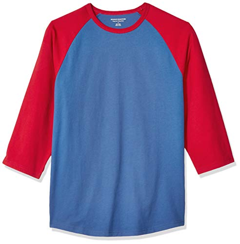 Amazon Essentials, Herren-Baseball-T-Shirt, Regular-Fit, 3/4-Ärmel, Blue/Red, US M (EU M)