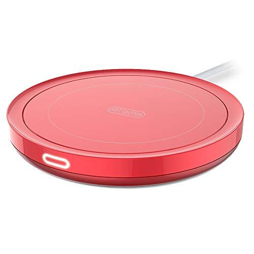 E-YIIVIIL Tassenwärmer Getränkewärmer mit Elektrischer Heizplatte Automatischer Schwerkraft-Sensor-Schalter für Tee Kaffee Milch Kaffeewärmer mit Eurostecker für Büro, Zuhause (Bis zu 131F/55C) (Rot)