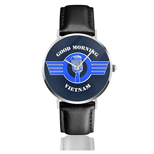 Unisex Business Casual Good Morning Vietnam Film Zitat Uhr Quarz Leder Uhr mit schwarzem Lederband für Männer Frauen Junge Kollektion Geschenk