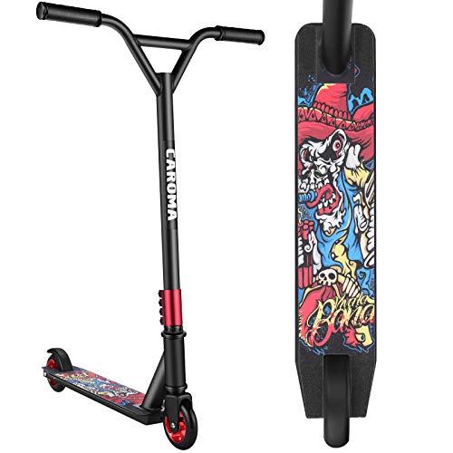 Patinetes Scooter Freestyle para Niño Juventud Adulto Patinete Freestyle Pro Patinete de Saltos 360 Grado Manillar Scooters 83 cm de Altura (Rojo)