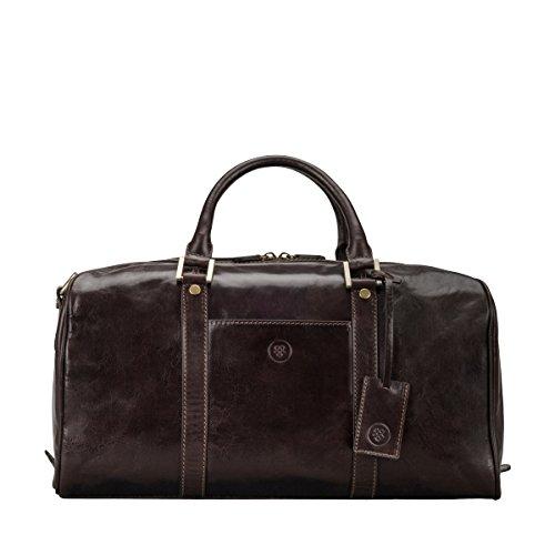 Maxwell-Scott Personalisierte Handgefertigte Leder Weekender Reisetasche FleroS in Dunkelbraun