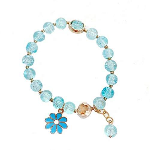 SeniorMar-UK Pulsera de Margaritas pequeña Pulsera de Cuentas de Cristal para Mujer Pulsera de Flor pequeña de un Solo círculo de Moda Simple Rosa + Azul Claro