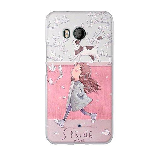 FUBAODA für HTC U11 Hülle, 3D Reliefmalerei[Mädchen & Katze im Frühjahr] Hochwertigem Stoßfest, Kratzfest, Ultra dünn Schutztasche Hülle für HTC U11 (5.5