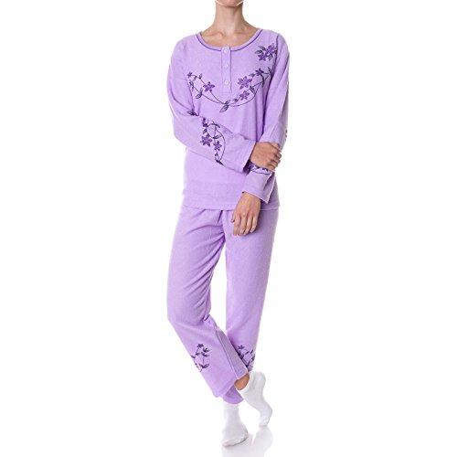 Damen Schlafanzug Hausanzug Pyjama 2 Teilige Set 21694 Lila XL