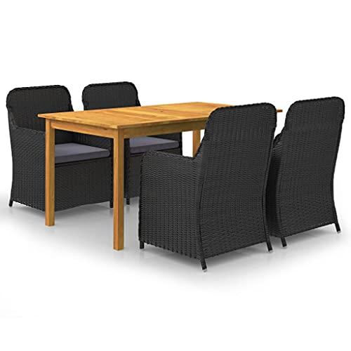 vidaXL - Conjunto de comedor de jardín, 5 piezas, juego de mesa y sillas de comedor de patio, muebles de cena de terraza, color negro