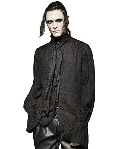 Punk Rave - Camicia da uomo stile poeta steampunk gotico vittoriano + cravatta a sciarpa Nero  Small