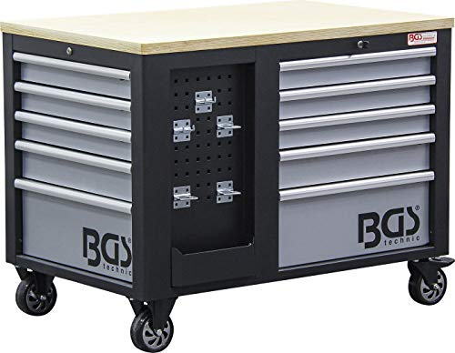 BGS 4199 | Werkstattwagen | 2 x 5 Schubladen | 1 Schrank | leer | abschließbar | massives Metall