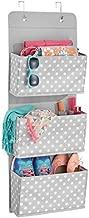 mDesign Portaoggetti da appendere con 3 ripiani – Capiente portaoggetti da porta per accessori – Salvaspazio armadio – grigio/bianco