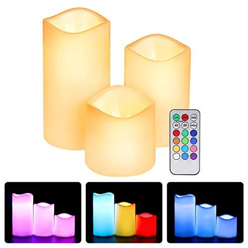 Ertisa Velas de LED sin Llama, Pack de 3 Blanco Cálido más