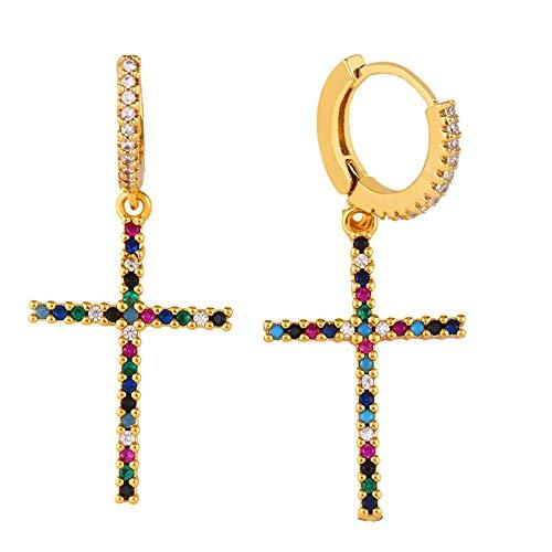 Xpccj Pendientes de tuerca con forma de cuerno de circón arco iris para mujer, pequeños chapados en oro, con luna creciente, pendientes de cristal para mujer (color de metal: cruz R30)