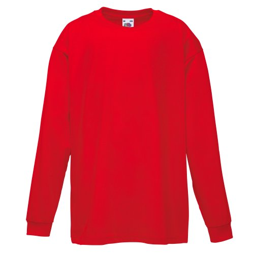 Fruit of the Loom Kinder Valueweight Langarmshirt, Rot, Gr.164